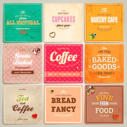 Cute Food Labels design vector 03 free download