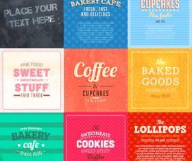 Cute Food Labels design vector 04