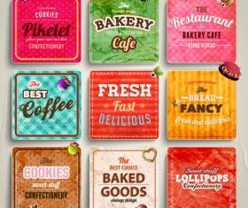 Cute Food Labels design vector 05