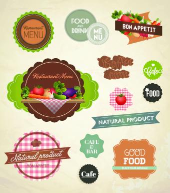 Fresh food labels design vector 04 free download