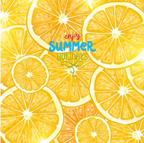 Summer Fruits Backgrounds Vector 02 Vector Background