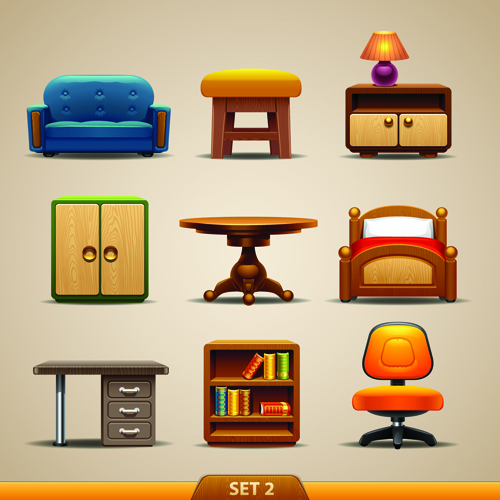 Vector Furniture Icons Set 02 Vector Icons Free Download