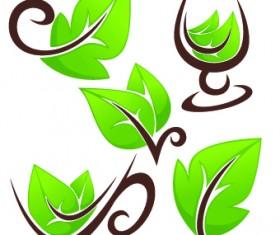 Creative Green Leaf logos vector 03