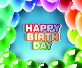 Happy Birthday card vector set 01