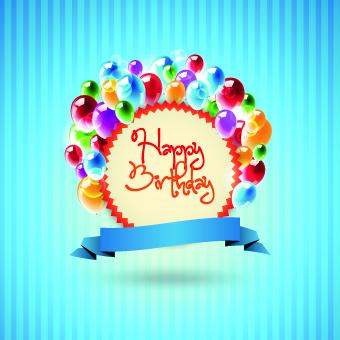 Happy Birthday Card Vector Set 02 Free Download