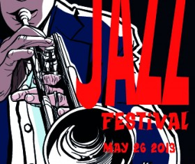 Jazz poster publicize template vector 04