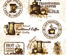 Retro Labels and stickers coffee vector 02