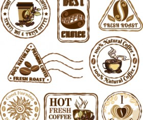 Retro Labels and stickers coffee vector 03