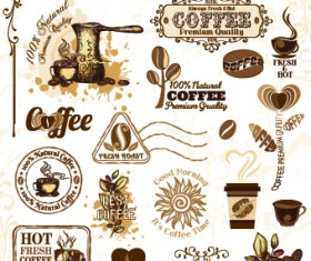Retro Labels and stickers coffee vector 04