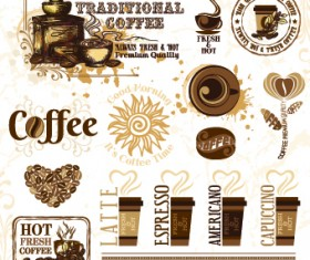 Retro Labels and stickers coffee vector 05