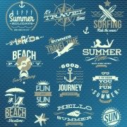 Link toVintage summer vacation travel logos vector 01