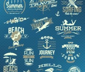 Vintage Summer vacation travel Logos vector 01