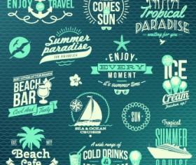 Vintage Summer vacation travel Logos vector 02