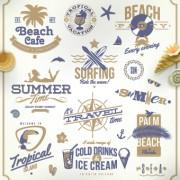 Link toVintage summer vacation travel logos vector 03