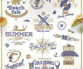 Vintage Summer vacation travel Logos vector 03