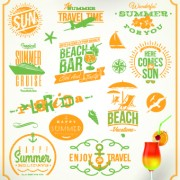Link toVintage summer vacation travel logos vector 04