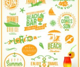 Vintage Summer vacation travel Logos vector 04