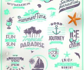 Vintage Summer vacation travel Logos vector 05