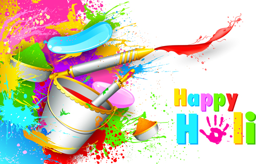 Happy holi Paints backgrounds 03 - Vector Background free ...