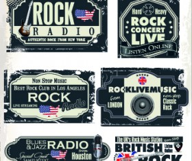 Retro rock music and jazz labels vector 06