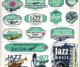 Retro rock music and jazz labels vector 08