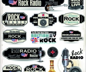 Retro rock music and jazz labels vector 10
