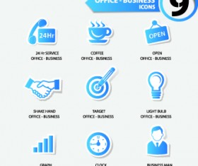 Office Stickers icons vector 01