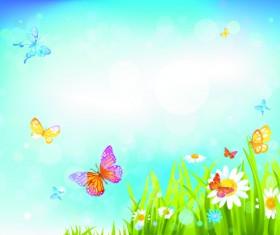 Summer blue sky backgrounds vector 01