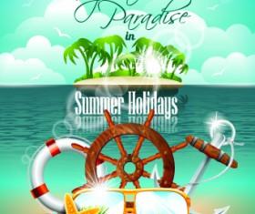 Summer holiday flyer template vector 02