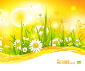 Beautiful Summer landscapes design vector 01