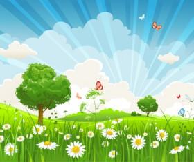 Beautiful Summer landscapes design vector 03