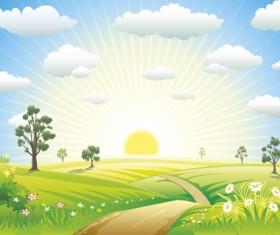 Beautiful Summer landscapes design vector 04