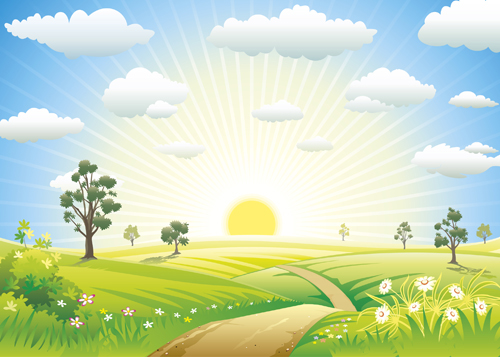 Beautiful Summer landscapes design vector 04