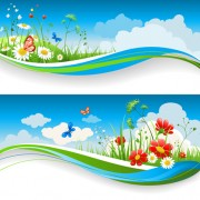 Link toBeautiful summer landscapes design vector 05
