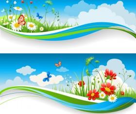 Beautiful Summer landscapes design vector 05