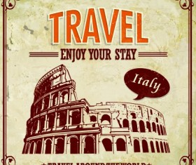 Vintage style Travel poster design vector 01
