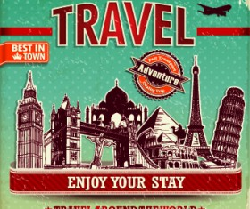 Vintage style Travel poster design vector 05