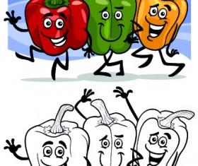 Funny Cartoon Vegetables vector 01