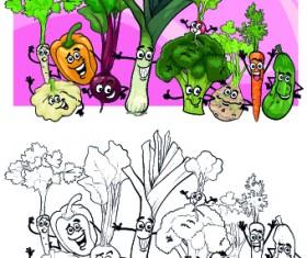 Funny Cartoon Vegetables vector 03