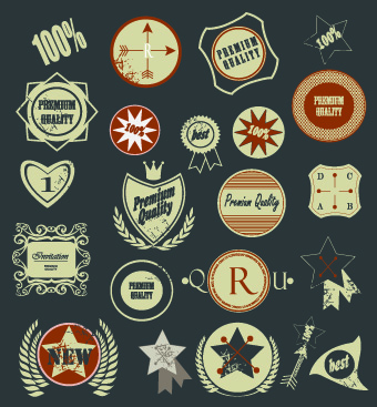 Vintage Premium Quality labels vector 02