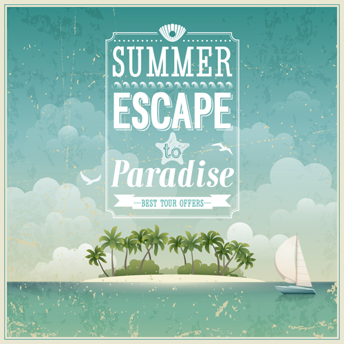 Vintage Summer backgrounds art 02 free download
