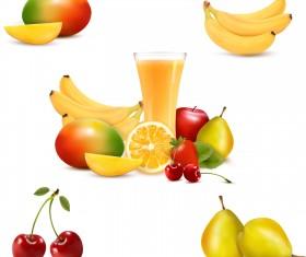 Vivid Fruits design vector 01