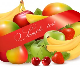 Vivid Fruits design vector 02