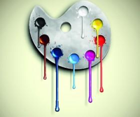 Watercolor palette vector 02