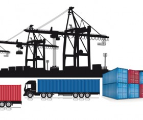 Container shipping design vector set 01