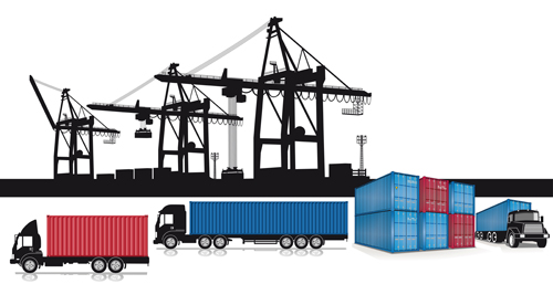 Container shipping design vector set 01 - Vector Traffic free download