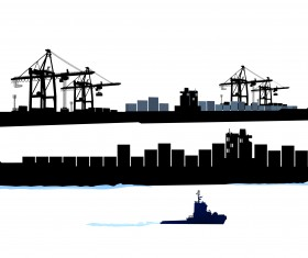 Container shipping design vector set 03