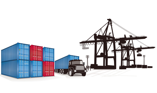 Container shipping design vector set 04