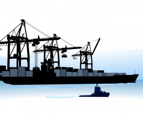 Container shipping design vector set 05