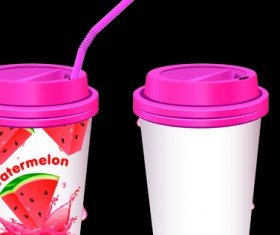 Drinks cups with tubes vector 05